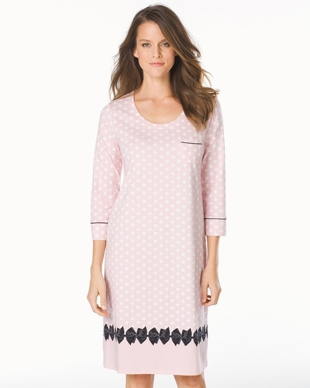 3/4 Sleeve Sleepshirt Big Dot Pink Bows Border