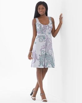 Sleeveless Wrapped Waist Short Dress Poetic Paisley Cool Gray