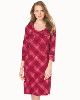 Embraceable 3/4 Sleeve Sleepshirt Modern Plaid Ruby