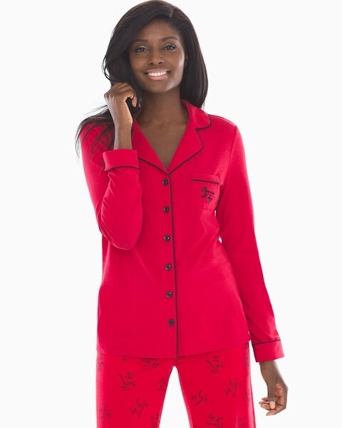 dd6a35eb34 Long Sleeve Notch Collar Pajama Top Pajamas All Day Red