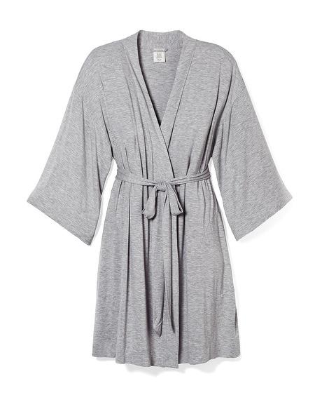 7e932e6103 Cool Nights Kimono Sleeve Short Robe Heather Opal Gray