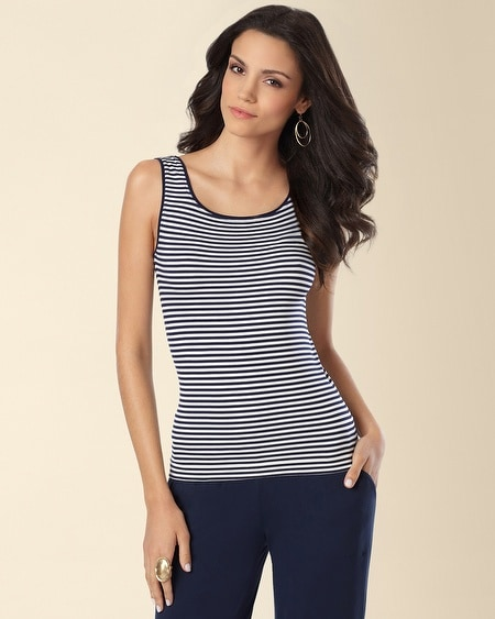 Seam Free Narrow Stripe Blue Cami