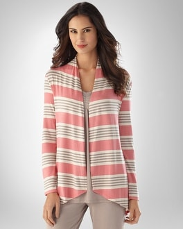 Soft Jersey Carnation Stripe Long Sleeve Cover Up