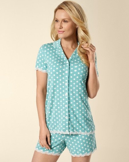 Short Sleeve Big Dot Teal Lace Trim PJ Top