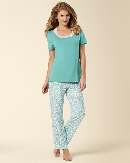 Leopard Teal Treasure PJ Set