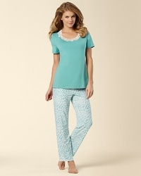 Embraceable Cool Nights Leopard Teal Treasure PJ Set