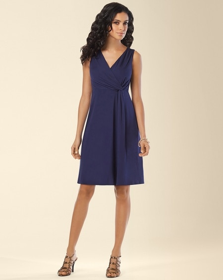 Navy Side Twist Dress