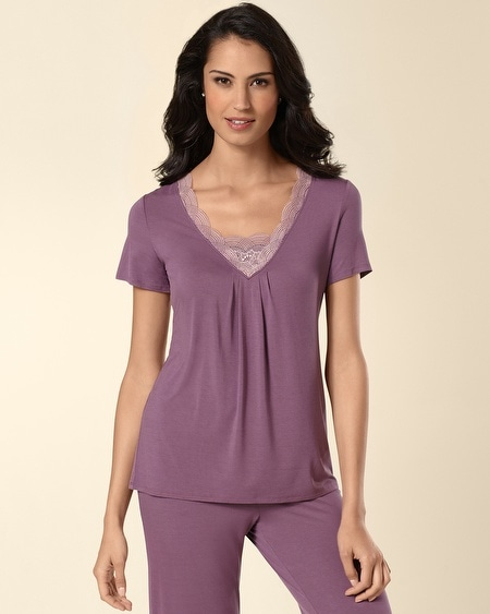 Deco Lace Short Sleeve Sleep Top Amethyst
