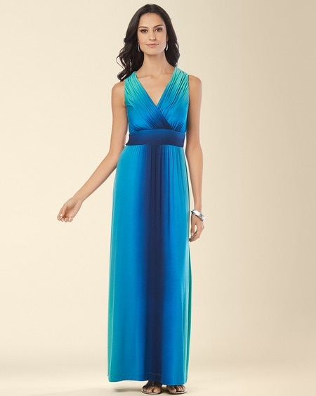 Shirred Bodice Maxi Dress Vibrant Ombre