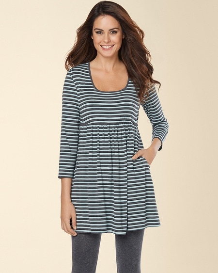 Empire Waist 3/4 Sleeve Tunic Multi Stripe Ether Blue