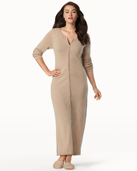 Long Zip Cashmere Robe Heather Sand