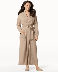 Arlotta Long Cashmere Robe Heather Sand