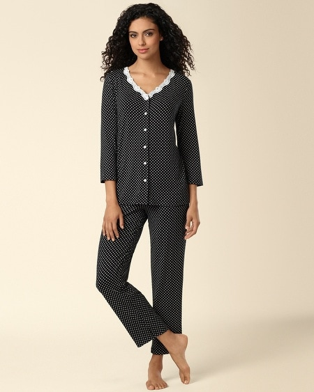 Cardigan Pajama Set Dot Black/Ivory