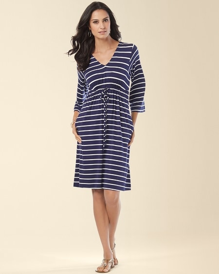 Drawstring Dress Fundemental Stripe Blue