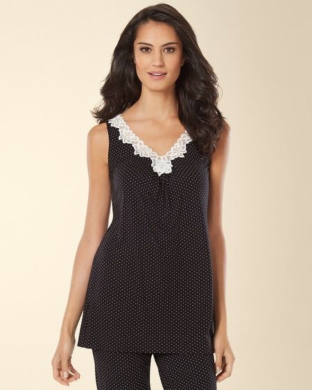 Lace Sleep Tank Little Dot Black/Ivory