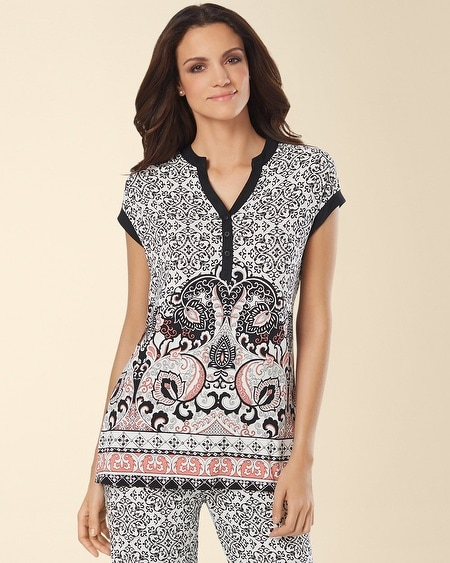 Pop Over Pajama Top Paisley Tile Border