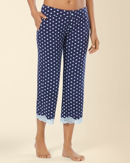 Crop Lace Pajama Pant Big Dot Navy