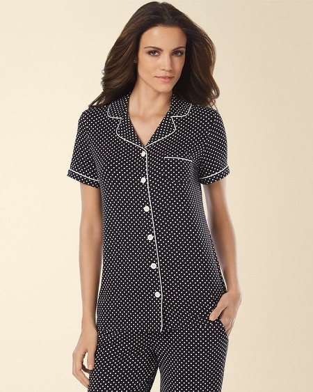 Notch Collar Pajama Top Mod Dot Black