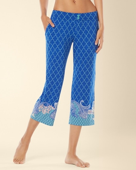 Crop Pajama Pant Surfside Atlantis Border