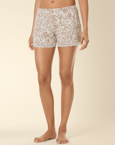 Lace Sleep Short Feather Flower Latte