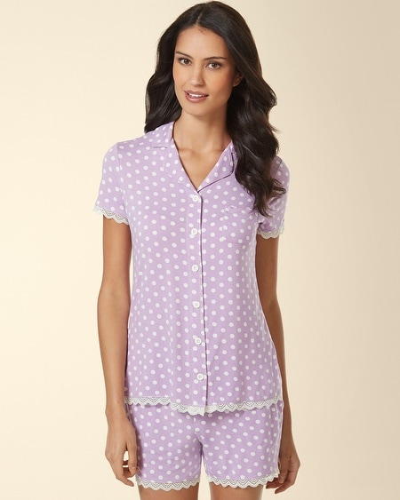 Notch Collar Lace Pajama Top Big Dot Faded Orchid