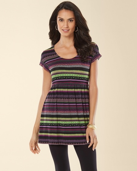 Short Sleeve Empire Waist Tunic Baja Stripe Black