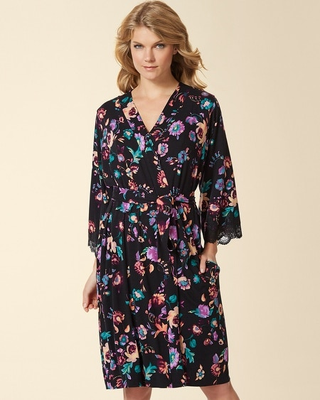Ornamental Scroll Lace Short Robe Oracle Floral Black