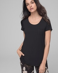 Embraceable Cool Nights Short Sleeve Pajama Tee Black