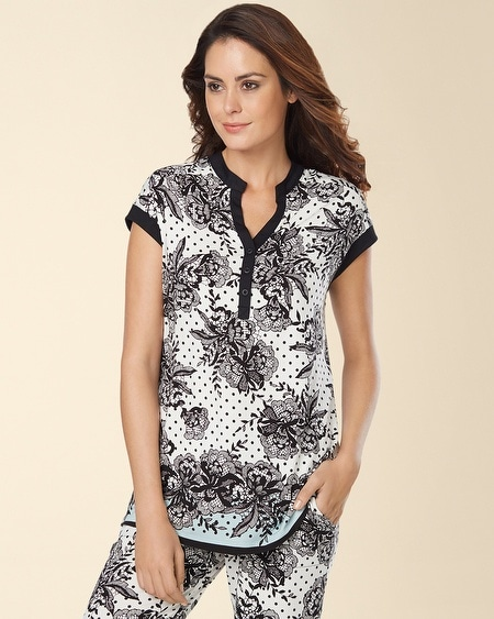 Pop Over Pajama Top Playful Lace Border