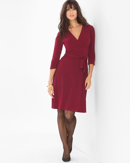 3/4 Sleeve Wrap Dress Wine