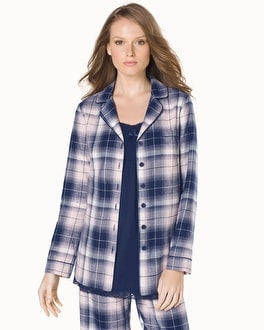 Embraceable Cotton Long Sleeve Notch Collar Pajama Top Plaid Pink Romance