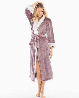 Natori Sherpa Plush Long Robe Bordeaux