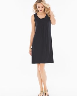 Sleeveless Braided Neckline Short Dress Black