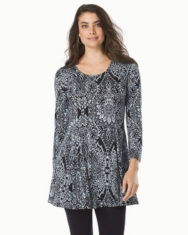 Live. Lounge. Wear. Soft Jersey 3/4 Sleeve Princess Seam Tunic Mosaic Lace Black