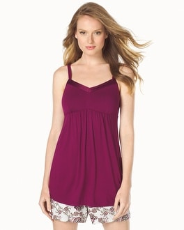 Embraceable Cool Nights Satin Trimmed Pajama Cami Currant