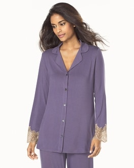 Medallion Lace Cool Nights Long Seeve Pajama Top Grape With Soft Tan Lace