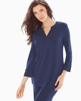Embraceable Cool Nights 3/4 Sleeve Pajama Top Navy