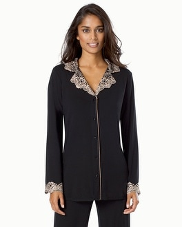 Limited Edition Cool Nights Sensuous Scroll Notch Collar Pajama Top Black W/Soft Tan Lace