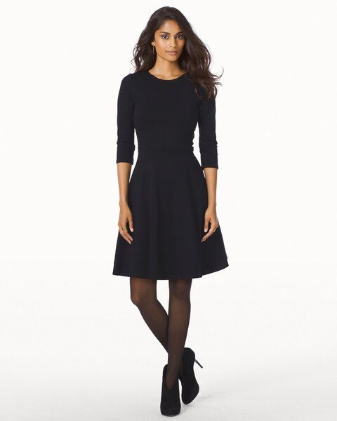 34 Sleeve Fit And Flare Dress Black Soma