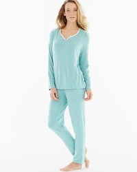 Cozy Fleece Long Sleeve Pajama Set Heather Jaded