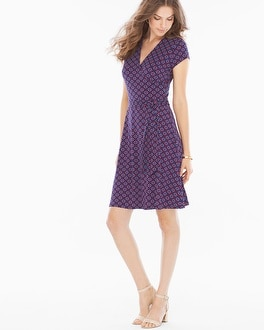 Leota Short Sleeve Perfect Wrap Dress Fleur de Lis