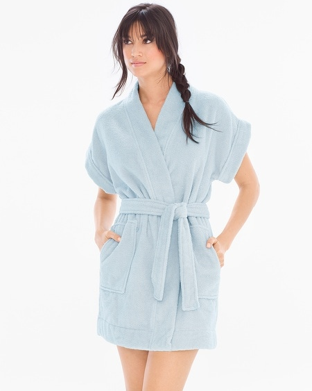 Cotton Terry Short Sleeve Robe Chambray