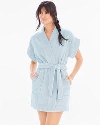 iRelax Cotton Terry Short Sleeve Robe Chambray