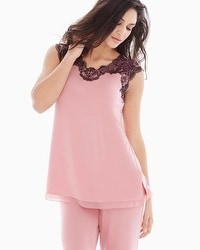 Floral Trellis Lace Short Sleeve Pajama Top Blush Pink/Black