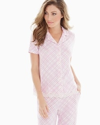 Embraceable Cool Nights Notch Collar Short Sleeve Pajama Top Pirouette Plaid Orchid