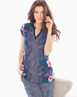 Embraceable Cool Nights Pop Over Cap Sleeve Pajama Top Bali Placement Navy