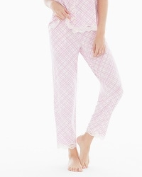 Embraceable Cool Nights Lace Trim Ankle Pajama Pants Pirouette Plaid Orchid