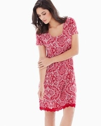 Embraceable Cool Nights Short Sleeve Sleepshirt Precious Lace Ruby