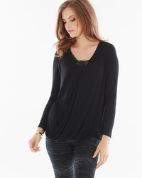 Live. Lounge. Wear. Soft Jersey Wrap Top Black