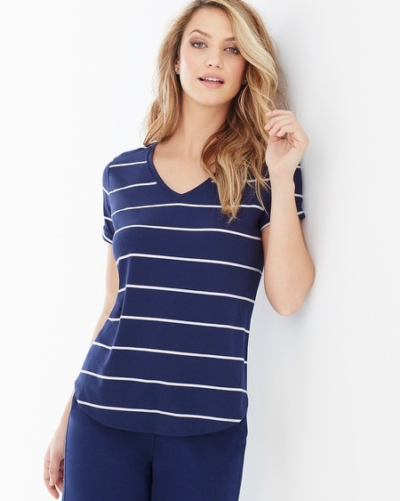 Premium Cotton Tee Airy Stripe Navy